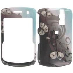 Wireless Emporium, Inc. Black & Teal w/Butterflies Snap-On Protector Case Faceplate for Blackberry Curve 8330