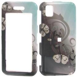 Wireless Emporium, Inc. Black & Teal w/Butterflies Snap-On Protector Case Faceplate for Samsung Instinct M800