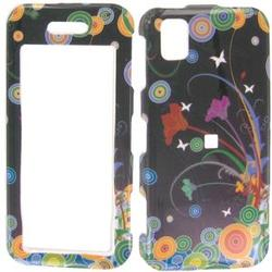 Wireless Emporium, Inc. Black w/Circles & Flowers Snap-On Protector Case Faceplate for Samsung Instinct M800