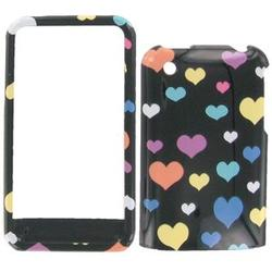 Wireless Emporium, Inc. Black w/Color Hearts Snap-On Protector Case Faceplate for Apple iPhone 3G