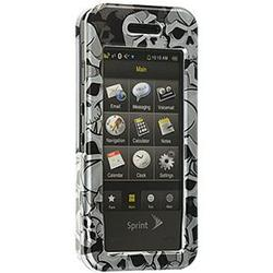 Wireless Emporium, Inc. Black w/Gray Skulls Snap-On Protector Case Faceplate for Samsung Instinct M800