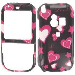 Wireless Emporium, Inc. Black w/Hot Pink Stars & Hearts Snap-On Protector Case Faceplate for Palm Centro