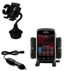 Gomadic Blackberry 9500 Auto Cup Holder with Car Charger - Uses TipExchange