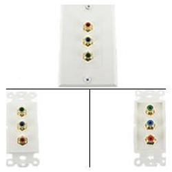 Abacus24-7 3-RCA Component Wall Plate (RGB)