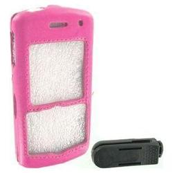 Wireless Emporium, Inc. Blackberry 8100 Pearl Executive Leatherette Snap-On Faceplate w/Clip (Pink)