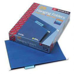 Smead Manufacturing Co. Hanging Folders, Recycled, Letter Size, Navy, Color-Matched 1/5 Tabs, 25/Box (SMD64057)