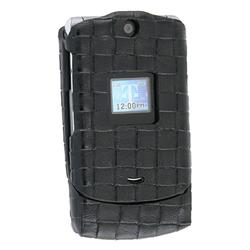 Eforcity Black Clip-on Leather Case for Motorola V3/ V3m, Mini Seatbelt Style by Eforcity