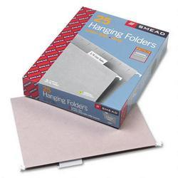 Smead Manufacturing Co. Hanging Folders, Recycled, Letter Size, Gray, 1/5 Cut Clear Tabs, 25/Box