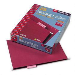 Smead Manufacturing Co. Hanging Folders, Recycled, Letter Size, Maroon, 1/5 Cut Pink Tabs, 25/Box