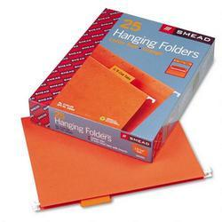 Smead Manufacturing Co. Hanging Folders, Recycled, Letter Size, Orange, Color Matched 1/5 Tabs, 25/Box