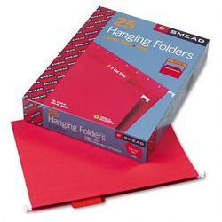 Smead Manufacturing Co. Hanging Folders, Recycled, Letter Size, Red, Color Matched 1/5 Tabs, 25/Box