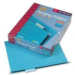 Smead Manufacturing Co. Hanging Folders, Recycled, Letter Size, Teal, 1/5 Cut Blue Tabs, 25/Box