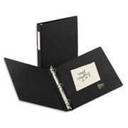 "1"" Economy Round-Ring Binder w/Label Holder, Black"