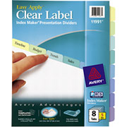 Avery 11991 Index Maker Clear Label Dividers, 8-Tab, Contemporary Colors, 5/Sets