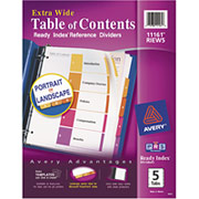 Avery Extra-Wide Table of Contents Dividers, Multicolor, 5-Tab