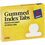 Avery Gummed Index Tabs, White Round Tabs