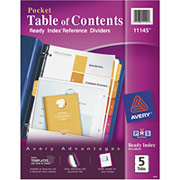 Avery Ready Index Dividers with Pocket, 5-Tab Set