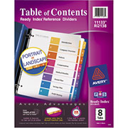 Avery Ready Index Table of Contents Dividers, 8-Tab, Multicolor, 24/Sets