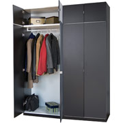 Darush 2-Piece Wardrobe With Hangrod, Black Finish