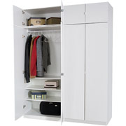 Darush 2-Piece Wardrobe with Hangrod and 3-Shelves, White Finish