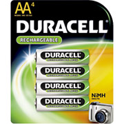 Duracell AA Rechargeable Batteries, 4/Pack