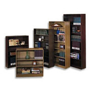 "HON Radius Edge Laminate 59""H, 5-Shelf Bookcase, Mahogany"