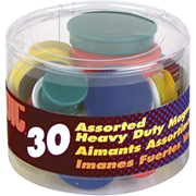 OIC Assorted Size and Color Heavy Duty Magnets, 30/pk