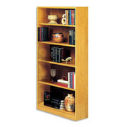 Situations 5-Shelf Heavy-Duty Wooden Bookcase, Snow Maple